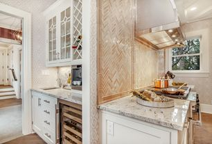 Traditional Kitchen with Undermount sink, Complex granite counters, Hardwood floors, European Cabinets, Flat panel cabinets