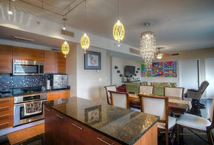 Contemporary Kitchen with Pendant light, Ceramic Tile, flush light, Complex granite counters, Kitchen island, Breakfast nook