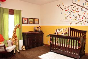 Modern Kids Bedroom with Chair rail, Melissa & doug giraffe plush, Carpet, Mural, Babi Italia Parrish Lifetime Crib