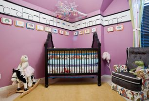 Traditional Kids Bedroom with Mural, Carpet, Black Ovation Crib, Surya Mystique Camel Area Rug, Animated Rocking Horse