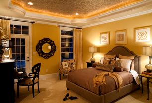 Traditional Master Bedroom with French doors, Transom window, can lights, Standard height, double-hung window, Carpet