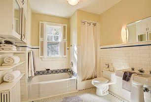 Traditional Full Bathroom with Paint, Bathtub, drop in bathtub, Wall sconce, tile shower, bathroom sink, double-hung window