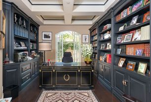 Traditional Home Office with Built-in bookshelf, French doors, Hardwood floors, Paint, Box ceiling