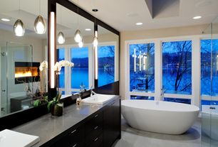Contemporary Master Bathroom with Flush, Concrete floors, Pendant light, Tech Lighting Soleil 1 Light FreeJack Pendant