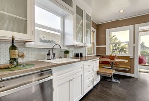 Contemporary Kitchen with specialty window, Standard height, Framed Partial Panel, Paint, drop-in sink, Paint 1, Window seat
