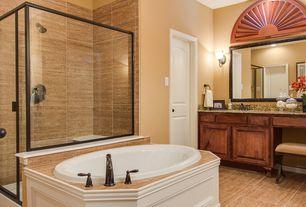 Traditional Master Bathroom with Standard height, Simple granite counters, partial backsplash, Shower, Bathtub, Raised panel
