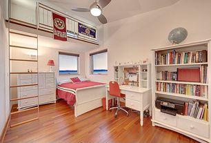 Kids Bedroom with flush light, Hardwood floors, Built-in bookshelf, Ceiling fan, Loft
