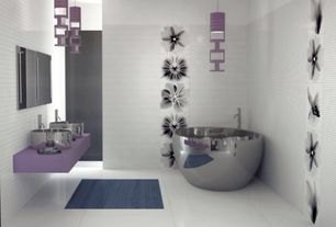Modern Master Bathroom with Freestanding, Master bathroom, Corian counters, Simone Polished Stainless Steel Soaking Tub
