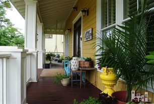 Traditional Porch with Outdoor Round Polyethylene Delano Planter, Crown molding, Beecham Swing Co. Flatbottom Oak Porch Swing