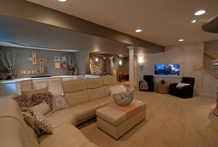Contemporary Living Room with Carpet, Ekones stressless paradise high back, Paint 1, Columns, can lights, Standard height