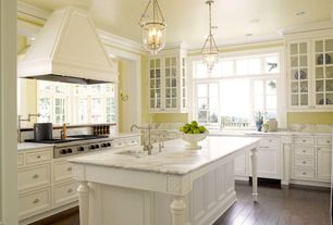 Traditional Kitchen with Glass panel, Undermount sink, deck mounted chrome pot filler faucet, Farmhouse sink, Pendant light