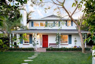 Tropical Front Door with Fence, exterior brick floors, Paint 1, picture window, Pathway, six panel door, Casement, Paint 2
