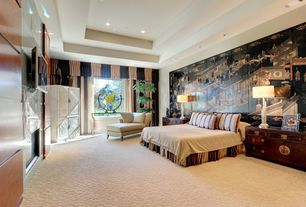 Asian Master Bedroom with Carpet, High ceiling, metal fireplace, Mural