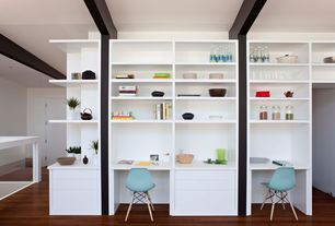 Contemporary Home Office with Built-in bookshelf, Hardwood floors, High ceiling, Exposed beam