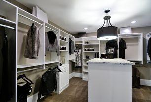 Contemporary Closet with flush light, Built-in bookshelf, allen + roth 8-ft White Wood Closet Kit, Carpet