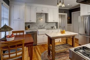 Traditional Kitchen with Paint 1, Flush, Complex marble counters, Pendant light, dishwasher, Apron sink - white, gas range