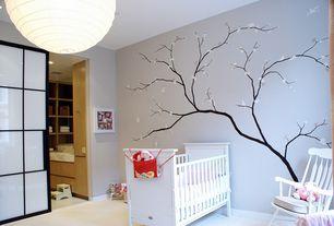 Modern Kids Bedroom with Mural, Orb 1-light swag plug-in pendant, Munire chesapeake classic crib, Carpet, flush light