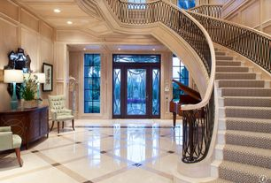 Traditional Entryway with Box ceiling, Transom window, Crown molding, French doors, simple marble floors