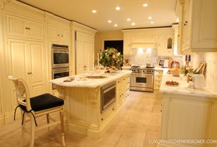 "Traditional Kitchen with Complex Marble, Hillsdale Wilshire 23.25"" Bar Stool (Set of 2), Custom hood, Inset cabinets"