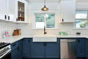 Contemporary Kitchen with Anthropologie Scalloped Brass Pendant Lamp, Farmhouse sink, Complex marble counters, Subway Tile