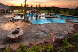 Swimming Pool with Fence, Raised beds, exterior stone floors, Fountain, Pathway, Fire pit