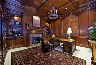 Traditional Home Office with Cement fireplace, High ceiling, Crown molding, Chandelier, Box ceiling, Carpet, Concrete tile