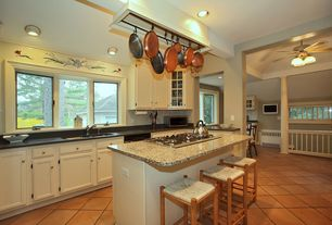 Traditional Kitchen with Breakfast bar, American heritage billiards 2-pc. rattan counter stool set, Ceiling fan, Glass panel