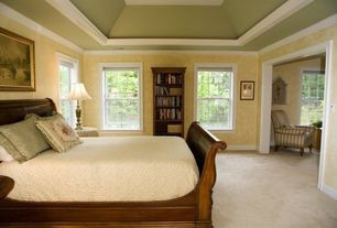 Traditional Guest Bedroom with Crown molding, double-hung window, High ceiling, Carpet, interior wallpaper