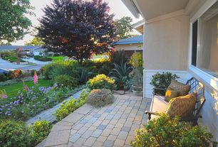 Traditional Porch with Wrap around porch, exterior brick floors, Raised beds