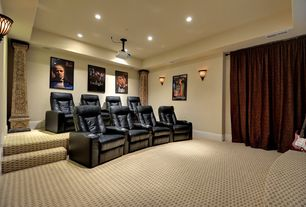 Traditional Home Theater with Carpet, Standard height, can lights, Wainscotting, Wall sconce