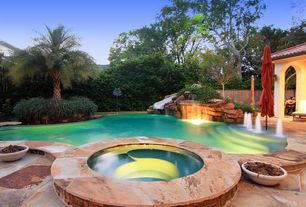 Contemporary Swimming Pool with Fence, exterior stone floors