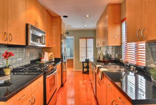 Contemporary Kitchen with dishwasher, Ms international angola black granite, Paint 1, double bowl undermount sink, can lights