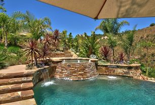 Tropical Swimming Pool with Pathway, exterior stone floors, exterior tile floors, Pool with hot tub, Fountain