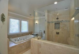 Traditional Full Bathroom with Daltile - jurastone beige 18 in. x 18 in. natural stone floor and wall tile, stone tile floors