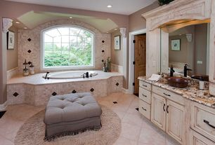 Traditional Full Bathroom with Arched window, complex granite tile counters, Vessel sink, Built-in bookshelf