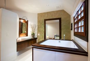 Modern Master Bathroom with Large Ceramic Tile, Flush, Concrete floors, Wood counters, Vessel sink, Flat panel cabinets