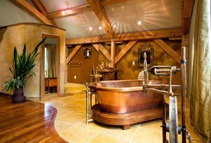 Rustic Master Bathroom with Exposed beam, Powder room, Copper pedestal air tub, Pendant light, Clawfoot, Hardwood floors