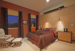 Modern Guest Bedroom with Carpet, High ceiling, Pendant light