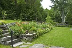 Traditional Landscape/Yard with Cast Iron Horse Head Hitching Post, Matterhorn Granite Natural Cut Steps, Pathway