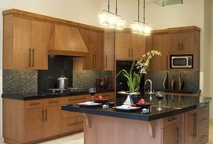 Contemporary Kitchen with Simple granite counters, L-shaped, European Cabinets, electric cooktop, Kitchen island, Flush