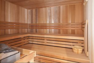 "Traditional Basement with Crown molding, Hardwood floors, Chair rail, Western red cedar for sauna, 3 1/2"" clear"