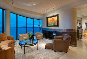 Modern Living Room with simple marble tile floors, Columns, Pendant light
