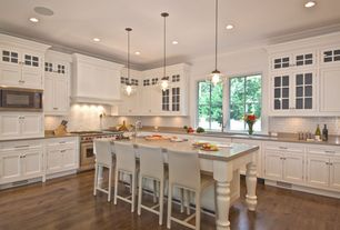 Traditional Kitchen with Quoizel MDN1509AN Antique Nickel Manderson 1 Light Pendant, L-shaped, Limestone counters