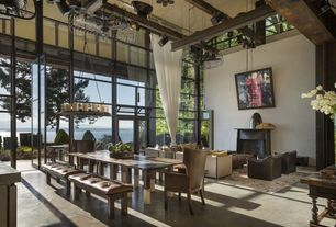 Contemporary Dining Room with Tufted Leather and Metal Bench, Exposed beam, Chandelier, High ceiling, French doors