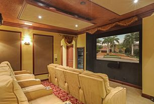 Traditional Home Theater with Carpet, Built-in bookshelf, Crown molding, specialty door, Wall sconce