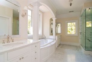 Traditional Full Bathroom with simple marble floors, frameless showerdoor, Complex marble counters, Flat panel cabinets