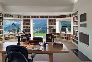 Contemporary Home Office with Built-in bookshelf, Carpet, Standard height, can lights, Fireplace, picture window