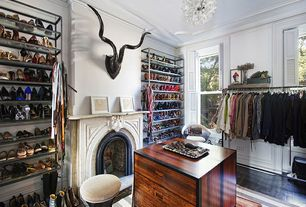 Contemporary Closet with Crown molding, Hardwood floors, Cement fireplace, Chandelier