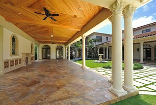 Mediterranean Porch with Pathway, Bird bath, exterior stone floors, French doors, Arched window, Wrap around porch