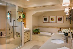 Contemporary Master Bathroom with Master bathroom, Crown molding, frameless showerdoor, Corian counters, Handheld showerhead
